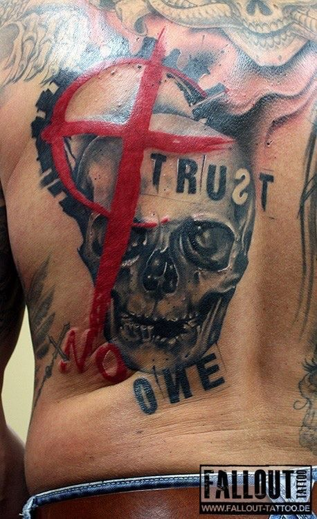 Trust No One back piece done by Artist Chris Block of