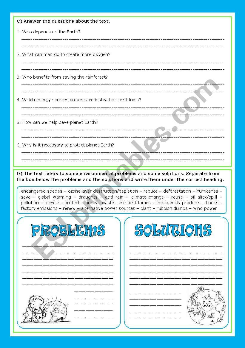 Save The Earth Worksheet Save Earth Free Reading Comprehension Worksheets Problem And Solution [ 1169 x 821 Pixel ]