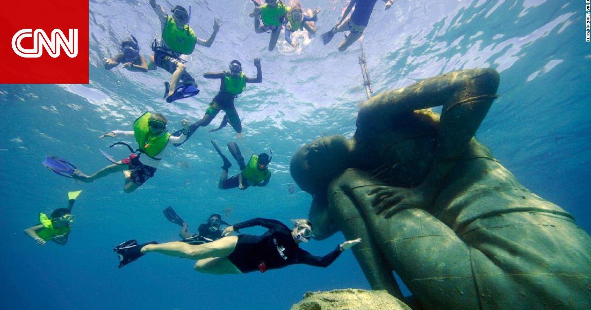 هل تود زيارتها حديقة من المنحوتات تحت الماء في جزر البهاما Bahamas Island Underwater World Underwater Park