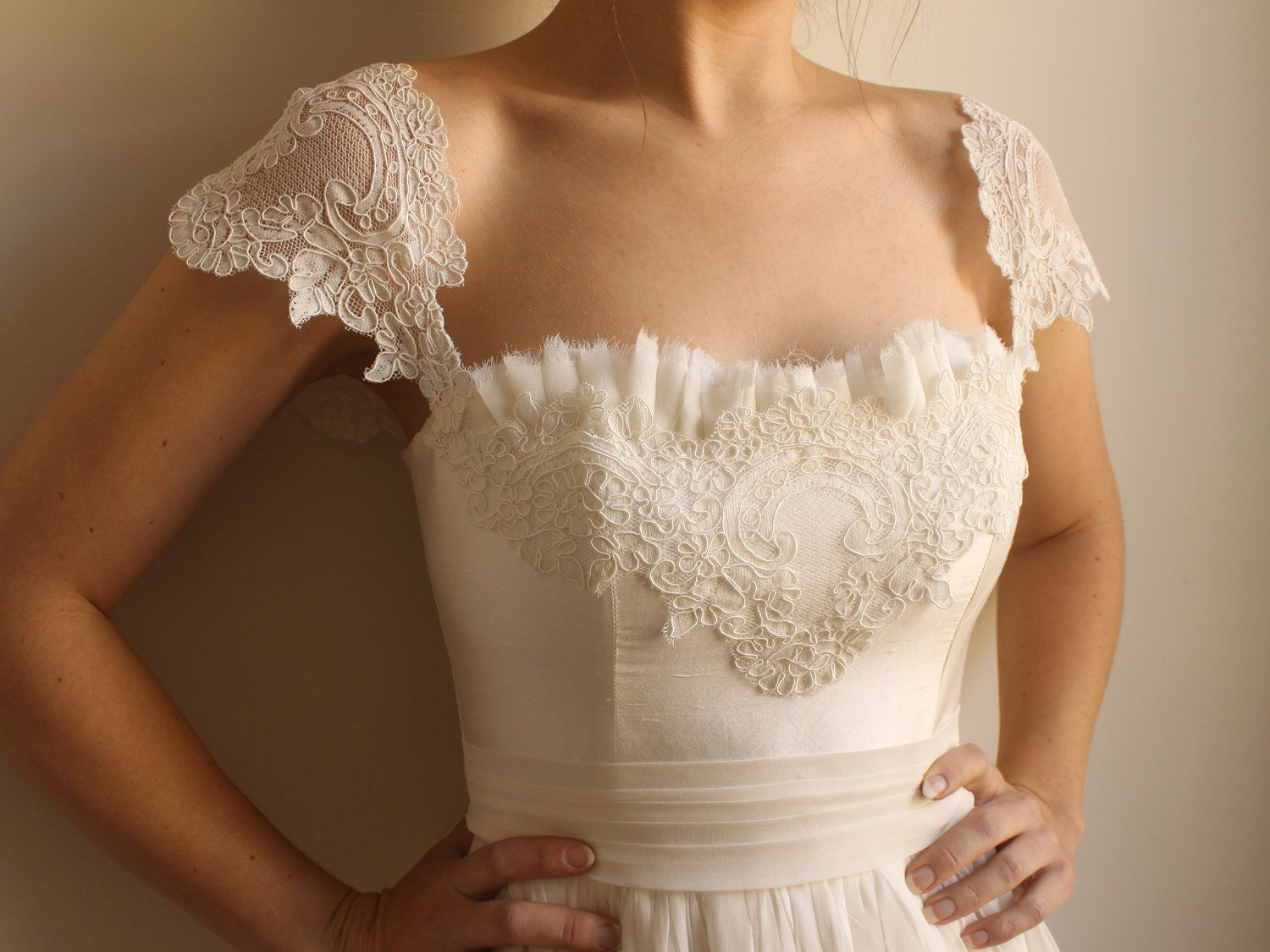 love the pleated unhemmed edge  wedding dresses  Pinterest  Lace