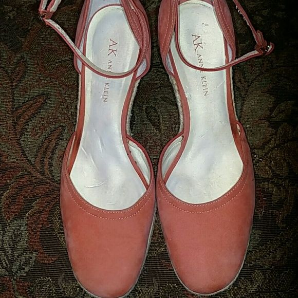 Coral suede wedges So adorable for summer, worn once Anne Klein Shoes Wedges