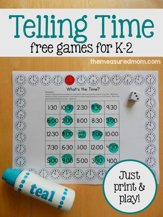 Free telling time games for K-2 | Time activities, Activities and Plays