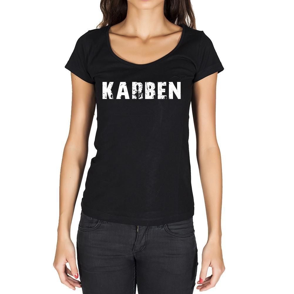 karben, German Cities Black, Women's Short Sleeve Rounded Neck T-shirt