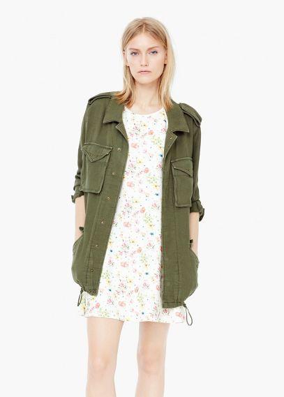 chaqueta verde militar mango