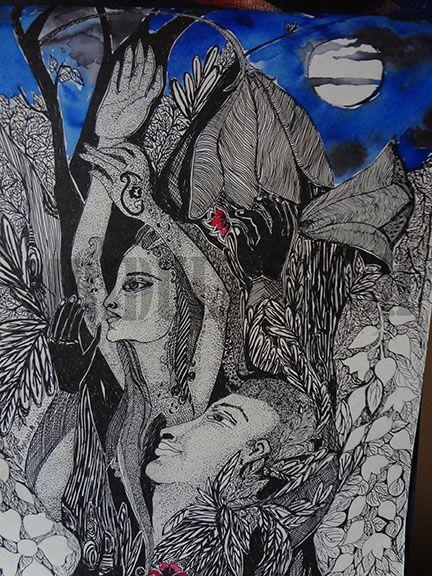 "Artist - Mridula Singh Size - 10.5"" X 15"" Medium - Gel Pen (Ink) on paper www.thearthubicac.com #thearthub #paintings #art #gelpenink #inkonpaper #artist #mridulasingh #indianartist #artgallery #worldart #mumbai"