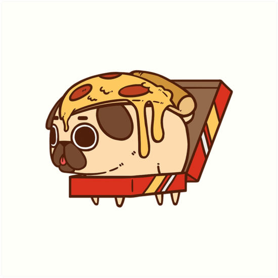 Puglie Pizza Art Print By Puglie Pug In 2021 Pug Wallpaper Pugs Pizza Art