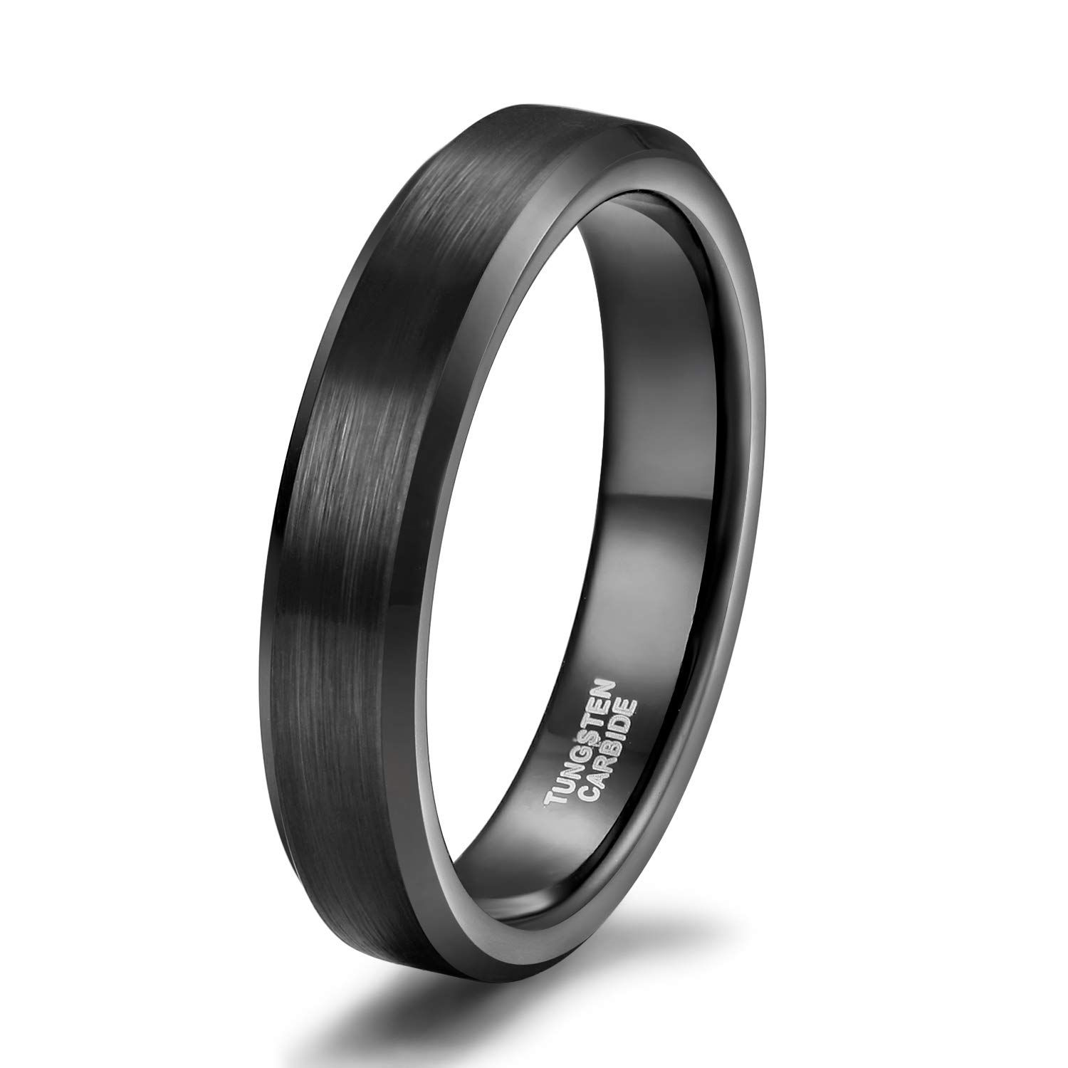 Shuremaster 4mm 6mm 8mm 10mm Tungsten Carbide Wedding Band For Men Women Engraved I Love You Couple Ring Black Tungsten Rings Tungsten Mens Rings Rings For Men