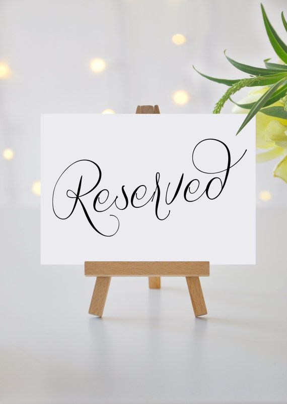 Reserved Signs for Wedding Reserved Table by KarlyKDesignShop ...