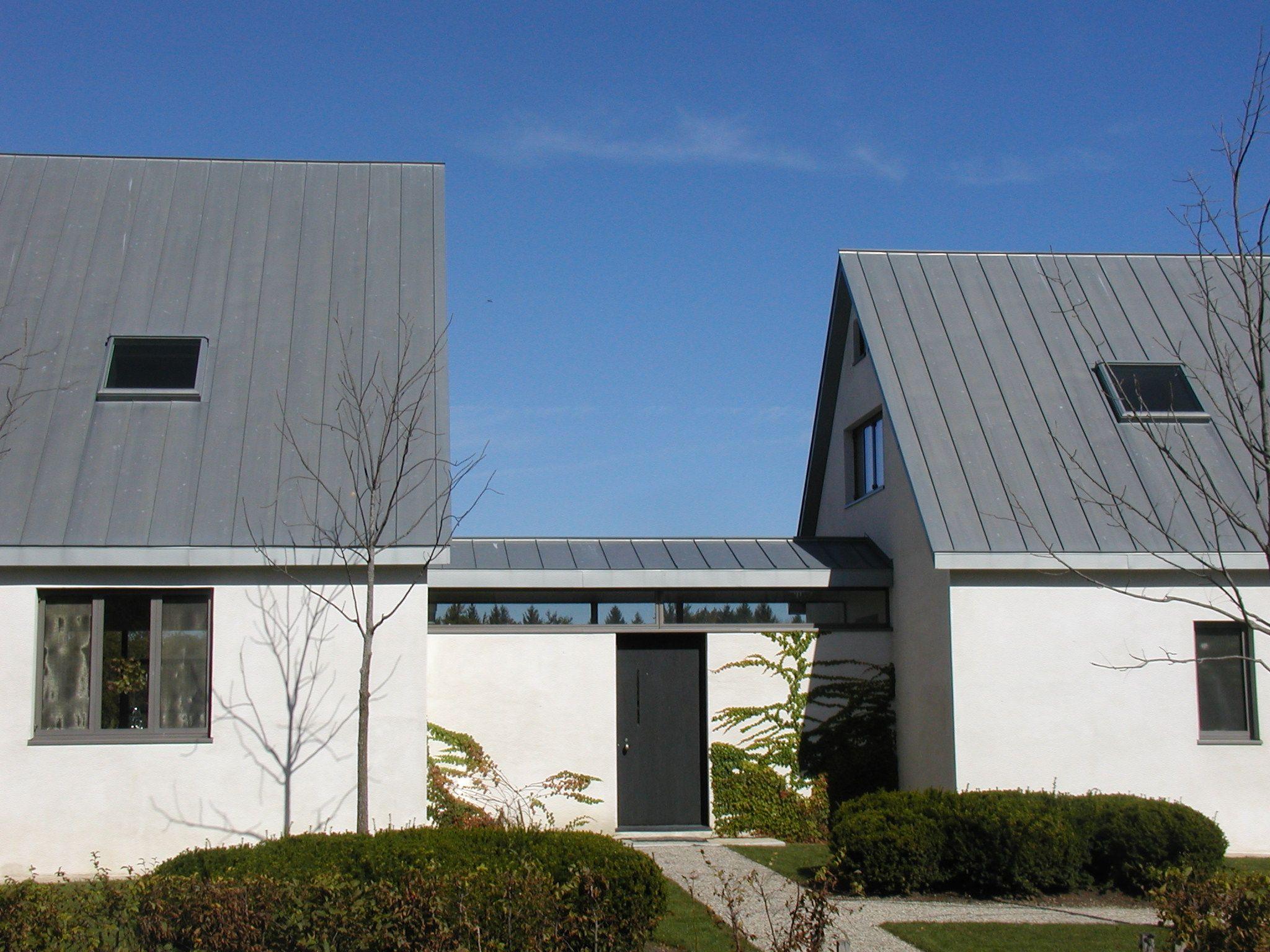 rheinzink double lock standing seam roof   prepatina blue