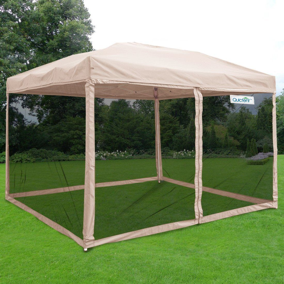 Todayu0027s deals Quictent Tan Ez Pop up Canopy Party Tent Commercial Instant Gazebos Mesh Sides deals week & Brand Lowest Price + Extra 8%OFF Free AccessoriesFree Delivery ...