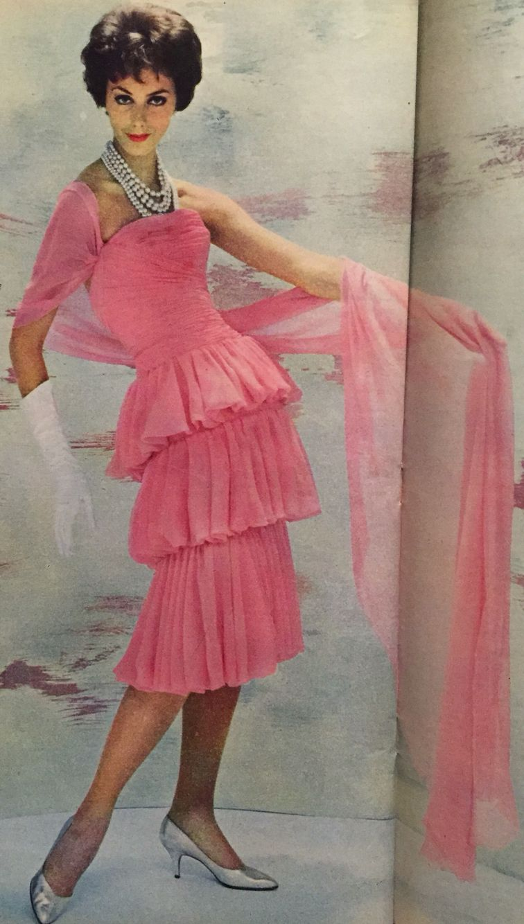 Coco Chanel- 1958 Pink silk muslin strapless ruched bustier dress ...