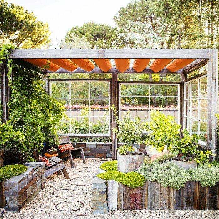 garten gestalten ideen frische sitzecke mit kies und pflanzen