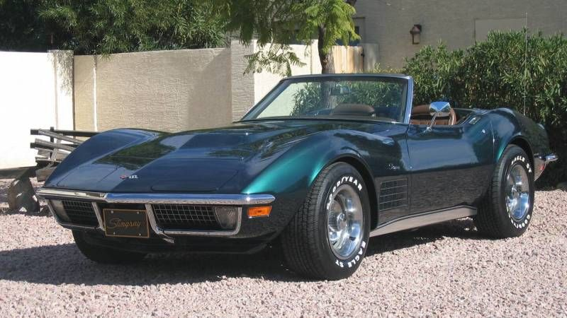 Green 1971 Chevrolet Corvette Stingray Convertible