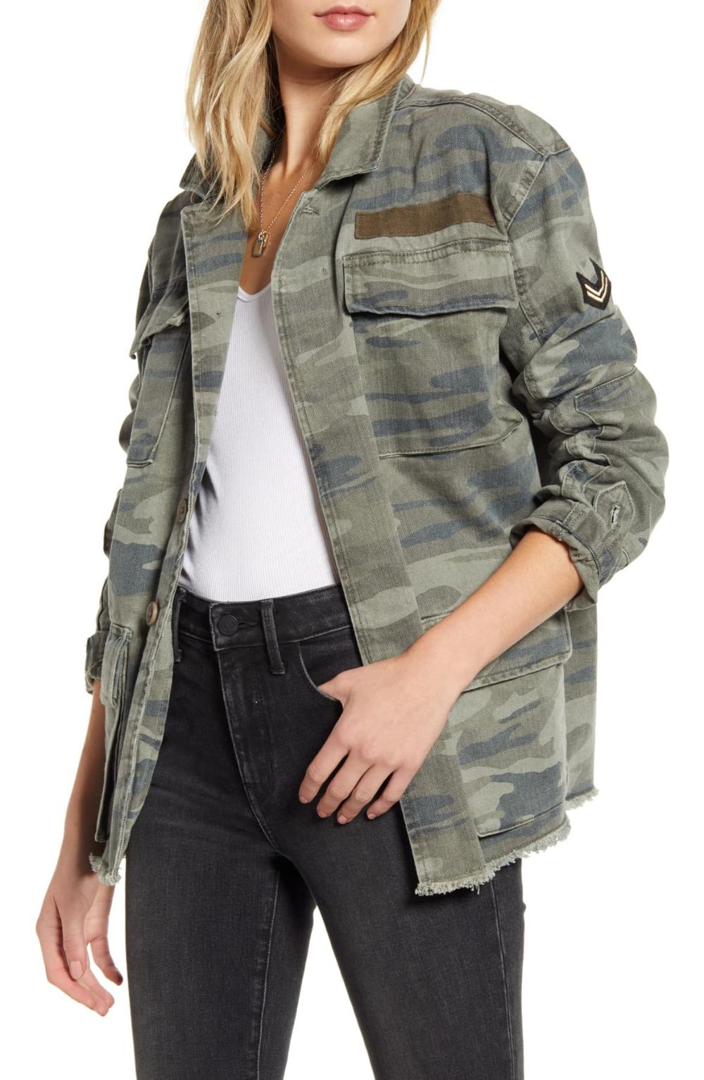Treasure Bond Patch Detail Camo Cotton Jacket Nordstrom Denim Jacket Patches Cotton Jacket Denim Jacket Fashion [ 1533 x 1000 Pixel ]