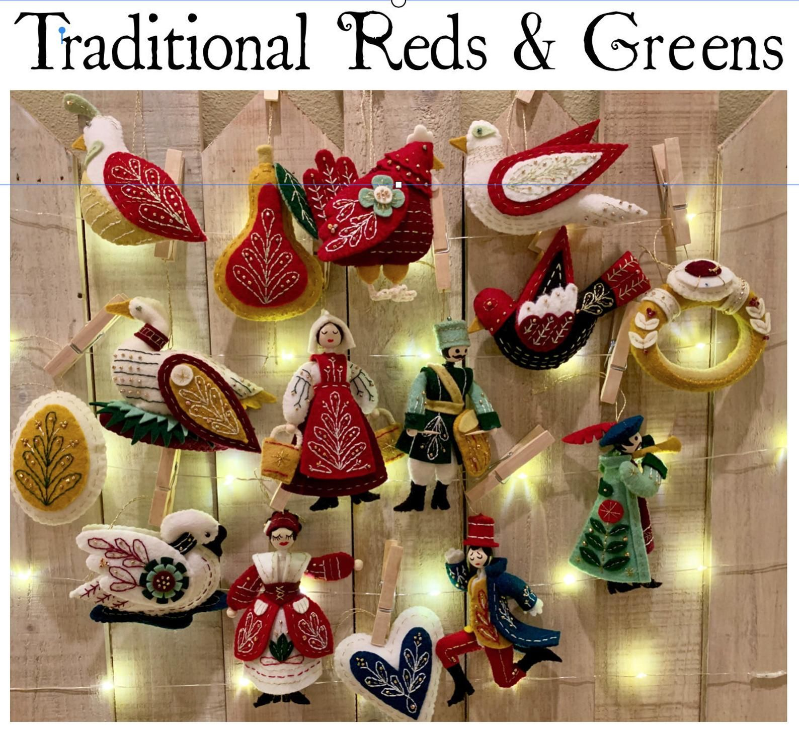 12 Days Of Christmas Ornaments Handmade Felt And Beaded Christmas Reds And Greens Set Of 15 Style 003 10 Weeks Production Time Please In 2021 Handmade Christmas Ornaments 12 Days Of Christmas Christmas Ornaments