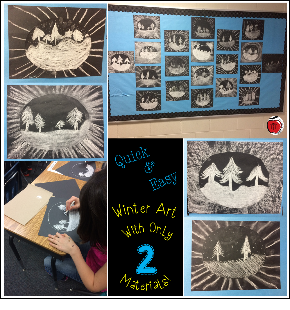 Easy Visual Arts: A Quick And Easy Winter Art Project Using Only A Couple