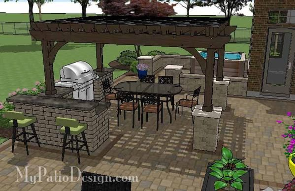 Dreamy Backyard Patio Design with Hot Tub | Download Plan – MyPatioDesign.com #backyardremodel