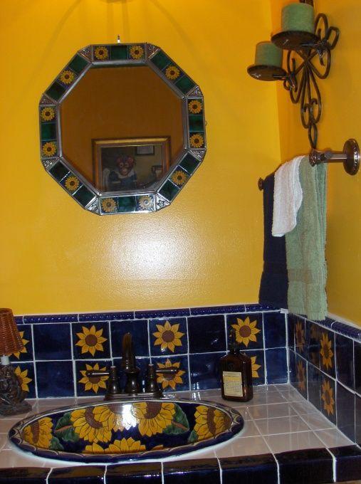 Mexican Bathroom Ideas | Mexican Bathroom Design Mexican Sunflower Bathroom Designs