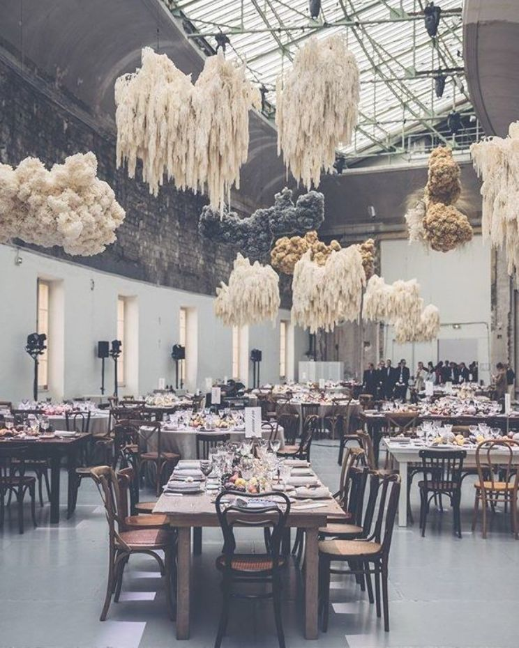 Drippy floral cloud inspiration in this moody dinner scene photo styling fo