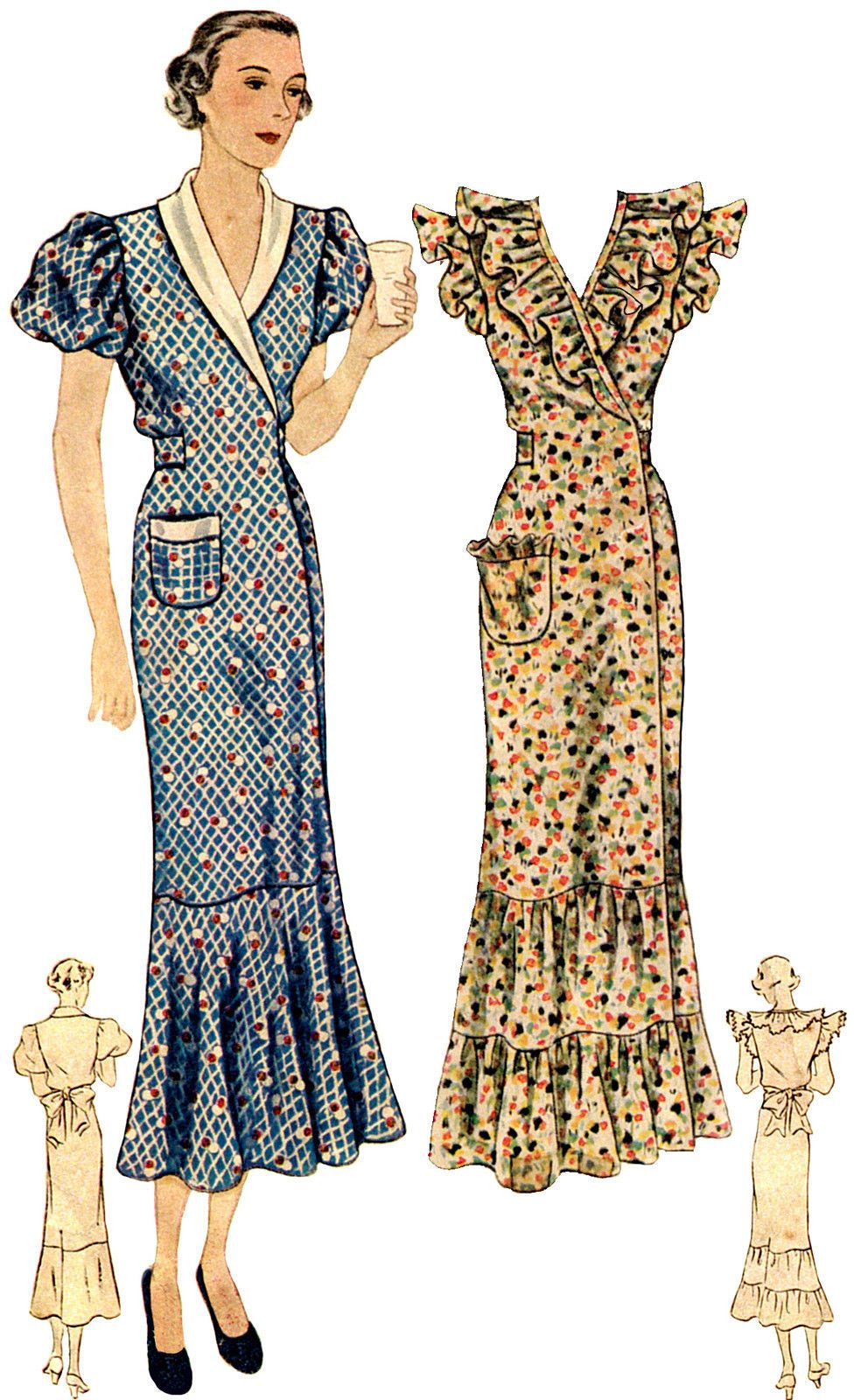 T1889 - 1930s Ladies Hooverette Day Dress Sewing Pattern - Hollywood ...