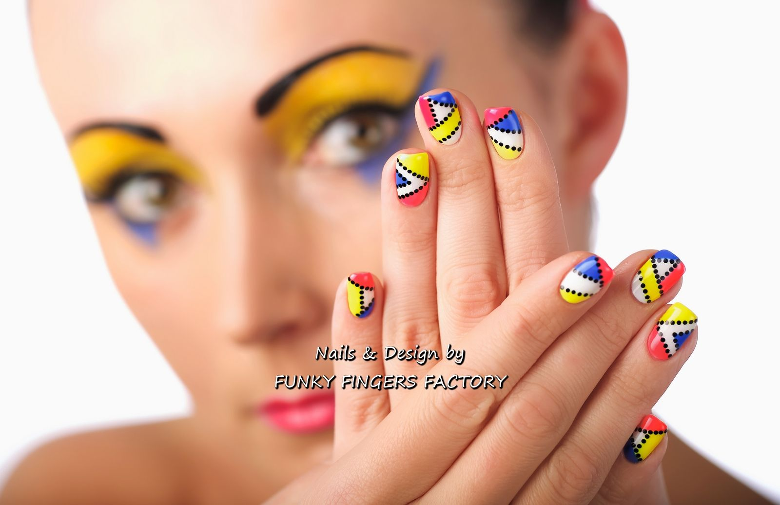 Gelish Pop Art Nail Art By Funky Fingers Factory Nails Pinterest