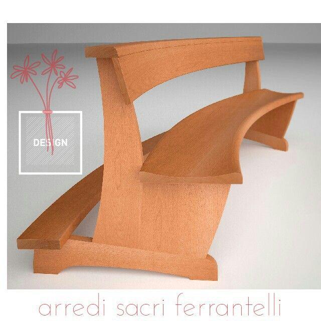 Banchi curvi in legno massello a raggio progressivo con sedile e appaggiatoio anatomico