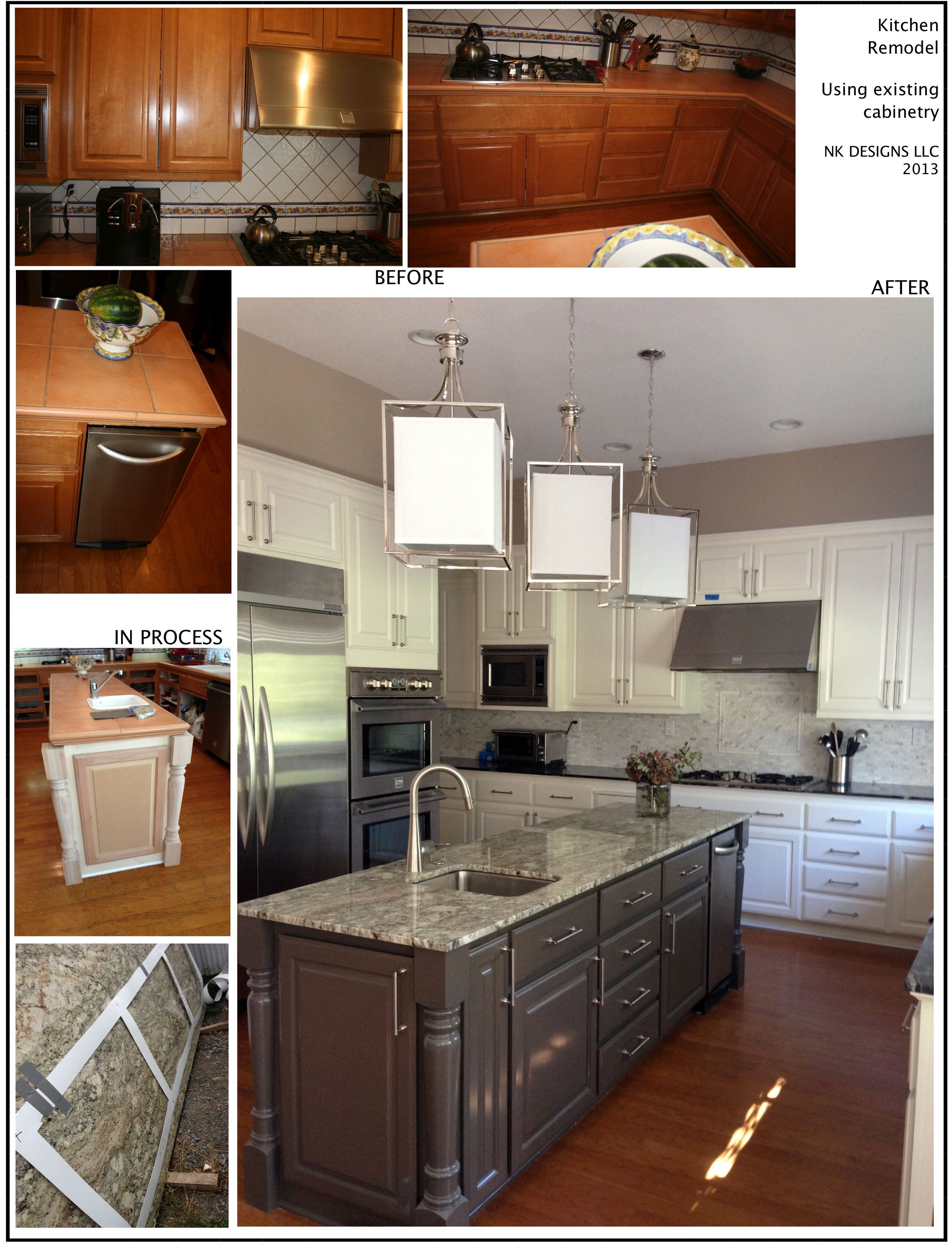 Diy Breakfast Bar Frame Built To An Existing Kitchen Island: Kitchen Design/build Utilizing Existing Cabinets. Added