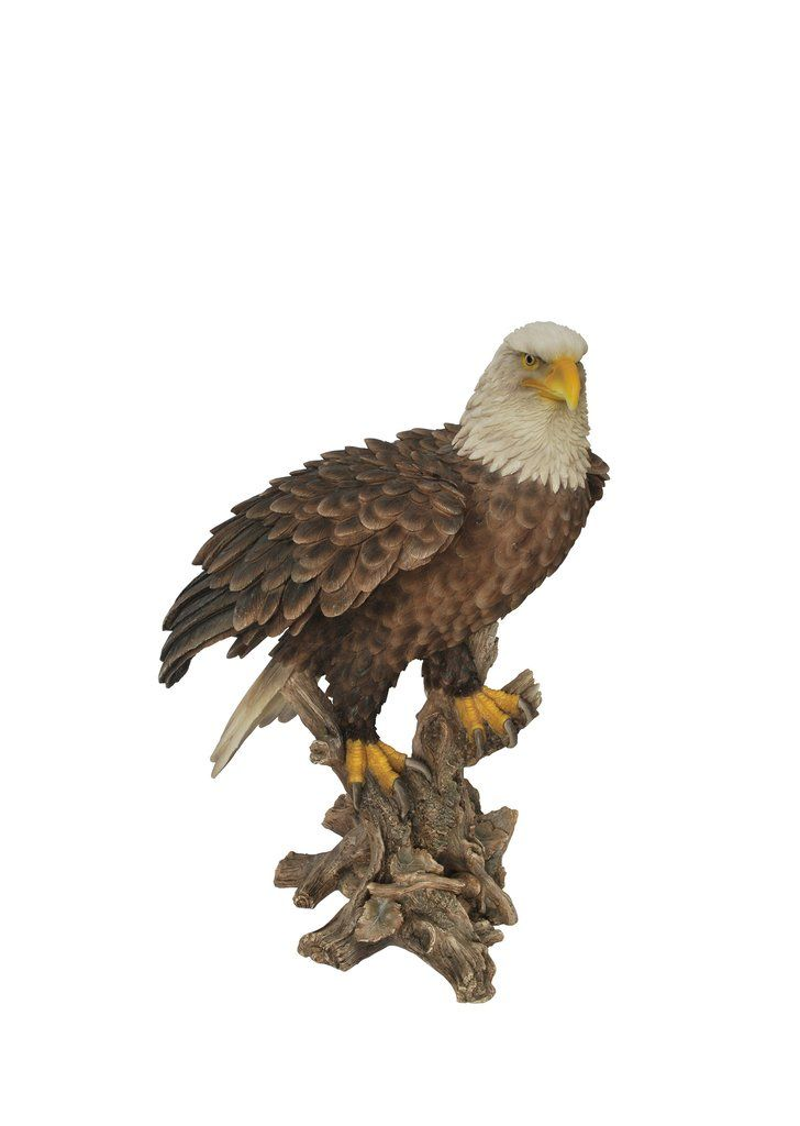 Bald Eagle Garden Statue On A Stump