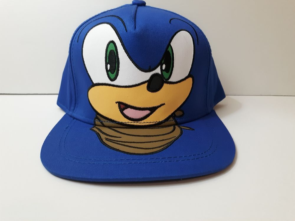 53148412f NEW Sonic Boom The Hedgehog Full Face Sega Flat Brim Snapback Hat ...