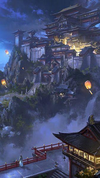 Photo of Anime, Sky Lantern, Mountain, Japanese, Castle, Night, Scenery, 3840×2160, Wallp…