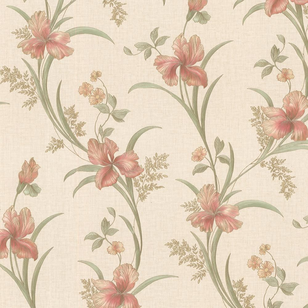Brewster Misty Peach Lily Trail Vinyl Peelable Roll Covers 56 4 Sq Ft Pink In 2020 Peach And Lily Rose Lily Wallpaper