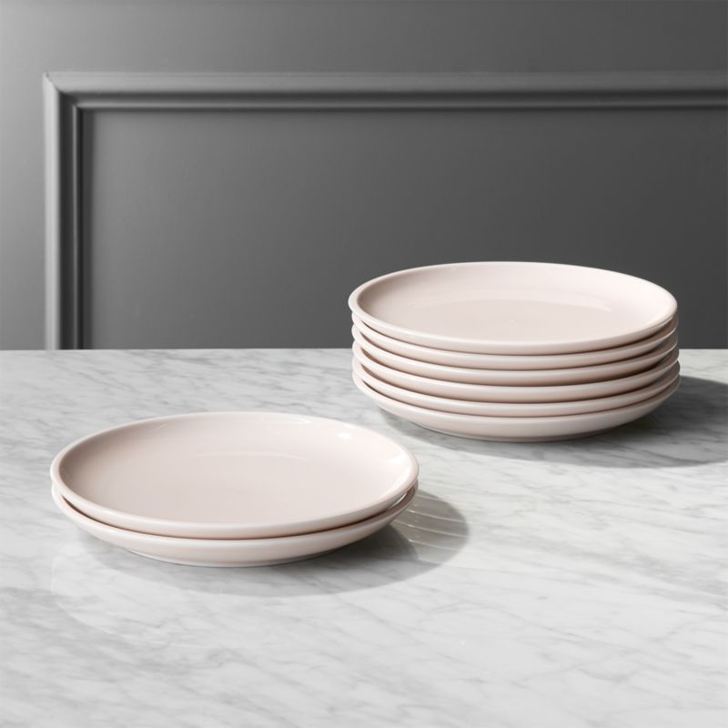 Reveal Pink Dinner Plates Set Of 8 Porcelain With Flat Edge Rims Serve In The Loveliest Light Tone