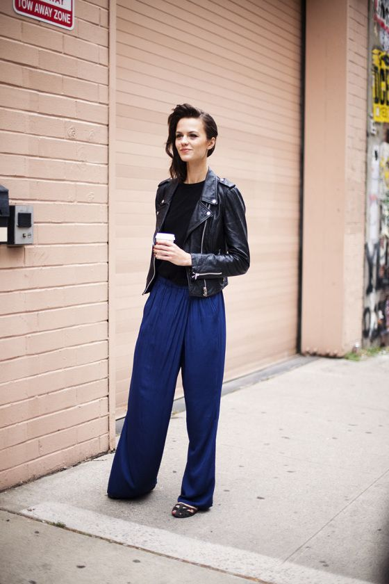 biker + loose trousers