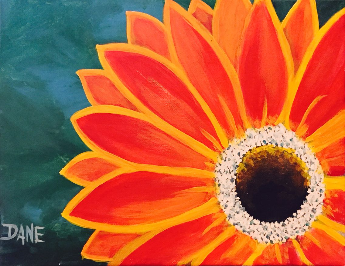 Red Gerber Daisy Is An 11 X 14 Acrylics On Canvas Painting By
