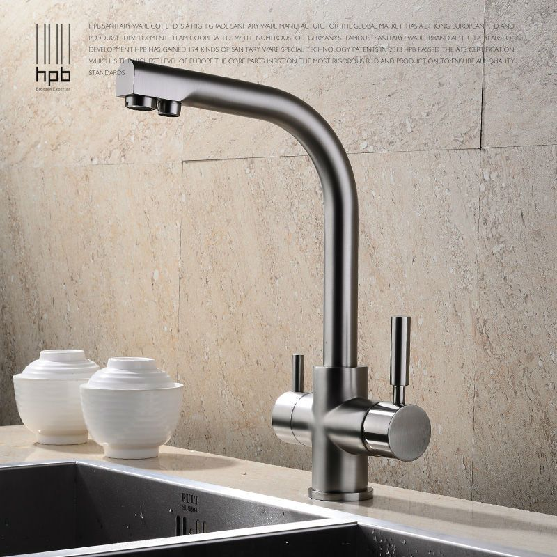 Superior HPB Brass Chrome Brushed Polished Two Functions Kitchen Sink Mixer Faucet 2  Holes Drinking Water Tap