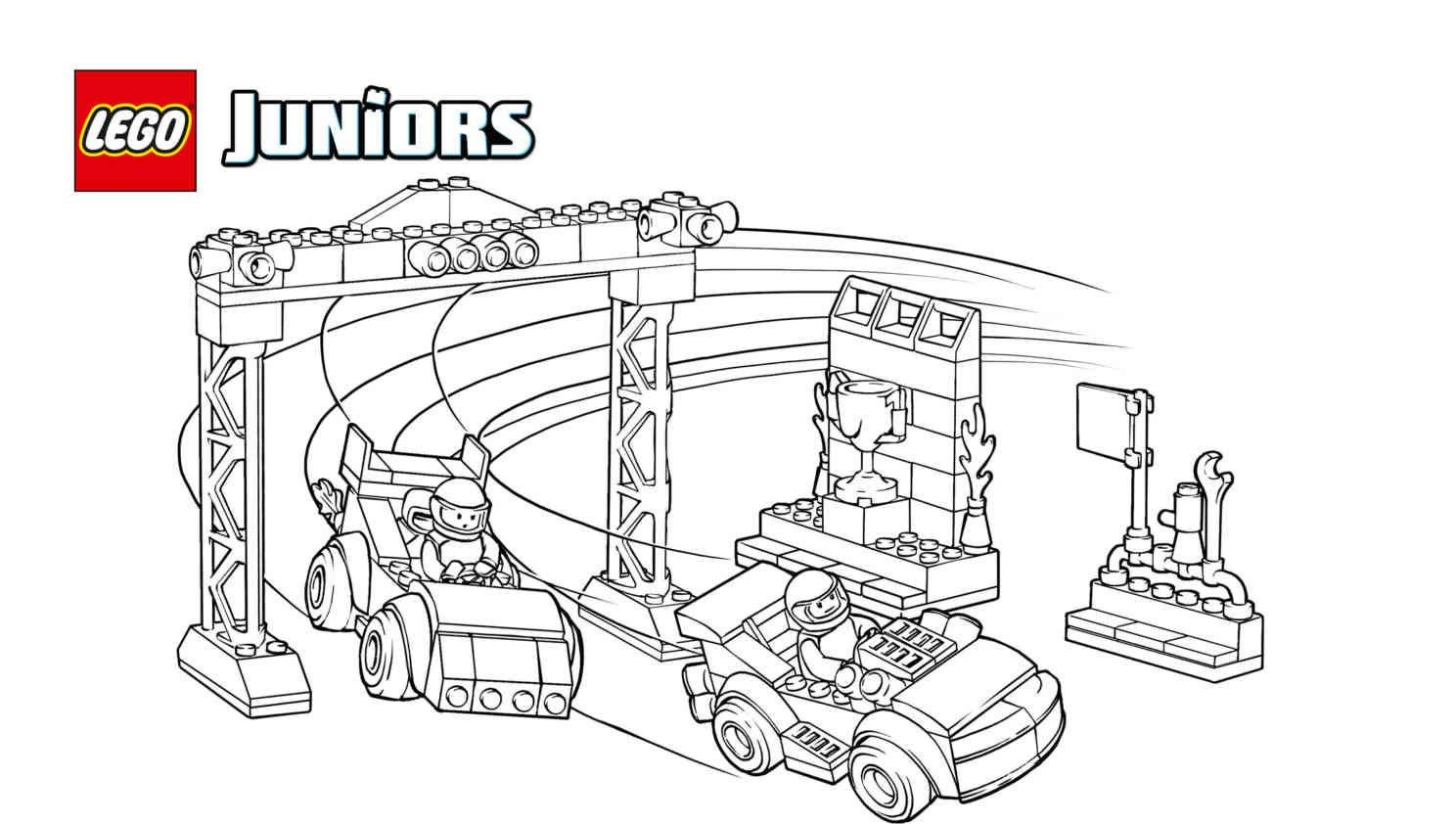 free printable race car competition coloring page from lego juniors featuring two minifigures going head to head to win first place - Race Car Color Pages