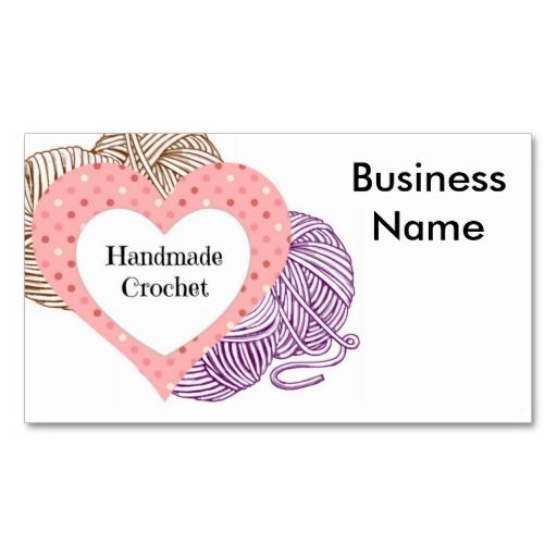 Crochet biz card with yarns and heart shaped logo heart for Heart shaped business cards