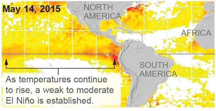 El Niño is strengthening  Sea temperatures along the equator are increasingly above normal, creating perfect conditions for El Niño. Forecasters are highly confident that this year's El Niño will continue through the latter part of the year. As temperatures continueto rise, a weak to moderateEl Niño is established. Warmer...  http://www.latimes.com/visuals/graphics/la-me-g-0515-el-nino-20150518-htmlstory.html