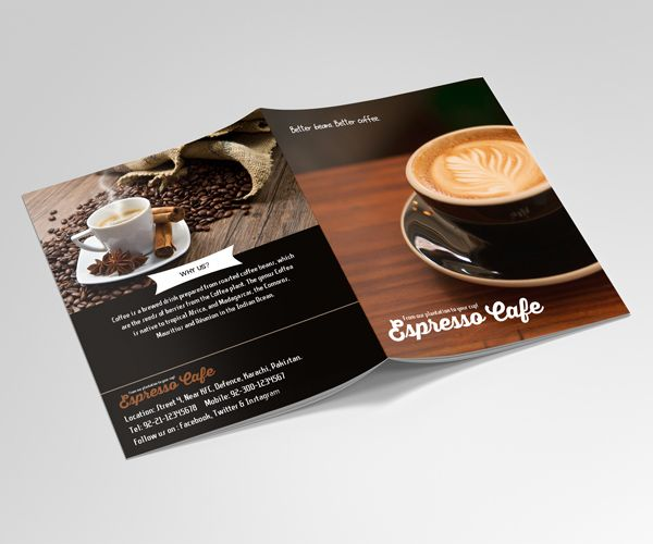 Freebie Coffee Shop BiFold Brochure Template #bifoldbrochure  #brochuredesign #brochuretemplates #freepsdfiles #freebies