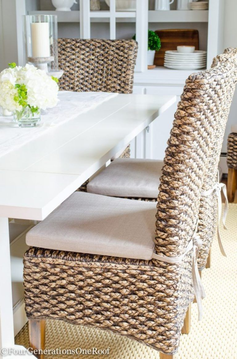 Modern Coastal Farmhouse Dining Room With Seagrass Chairs Wicker