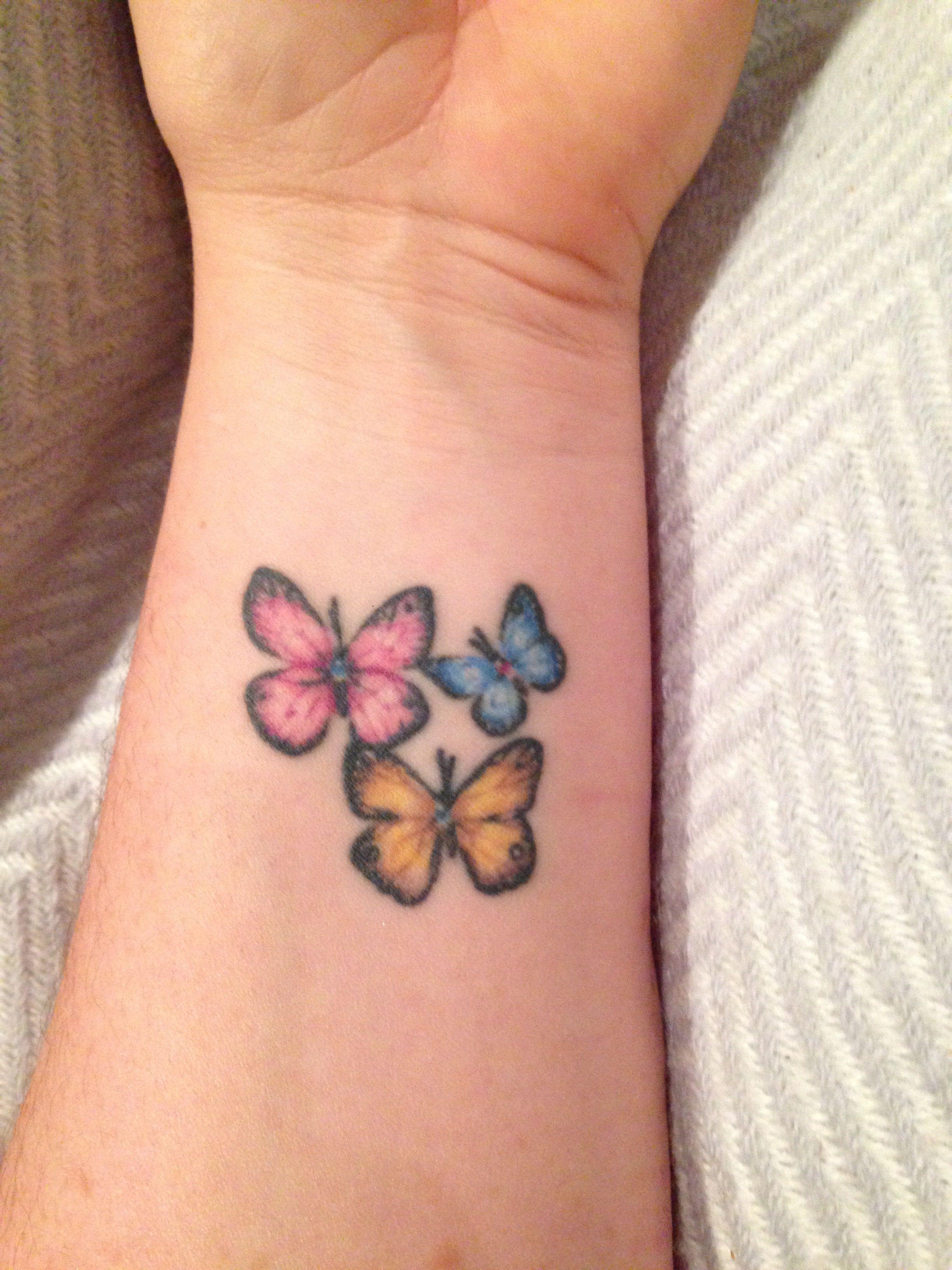 13f0f377111f3 Pretty butterflies Tattoo inner arm / wrist | tattoos | Tattoos ...