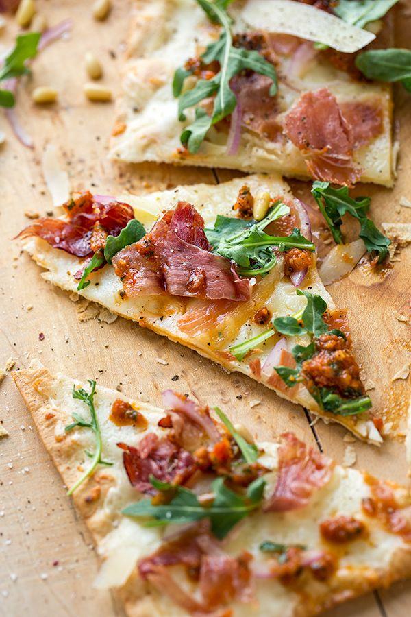 Crispy Prosciutto Flatbread Pizza with Arugula, Shaved ...