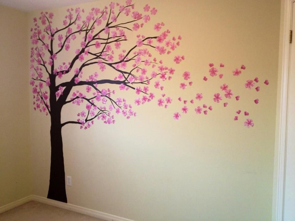 Free Hand Painted Cherry Blossom Tree By Mary. :)