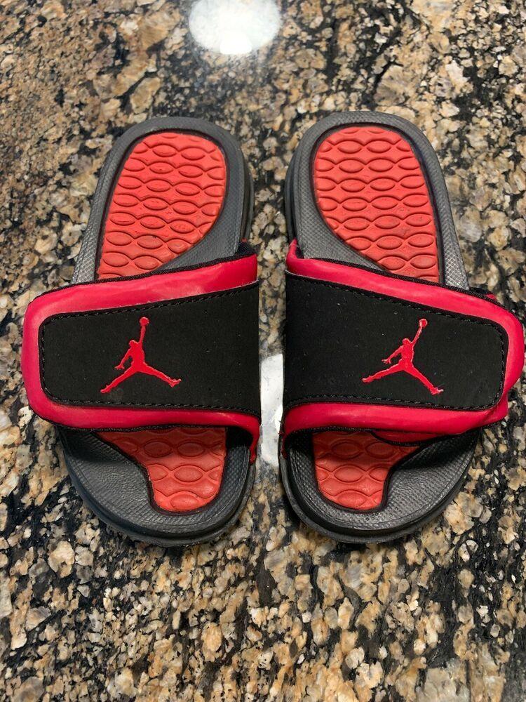 separation shoes 35d33 57e24 Nike Air Jordan Boys Toddler 11C Red/Black Velcro Slides ...
