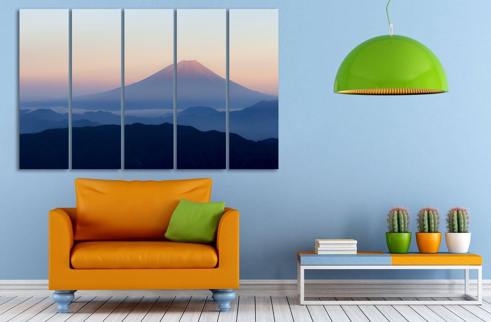 Smoky Mount Fuji Japanese Wall Art Nature Extra Large Split Canvas Extralargewalldecor Extralargeprint Hom Japanese Wall Art Japanese Wall Nature Wall Decor