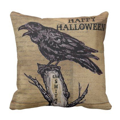 Raven Halloween Pillow Personalize Burlap Neutral - halloween decor
