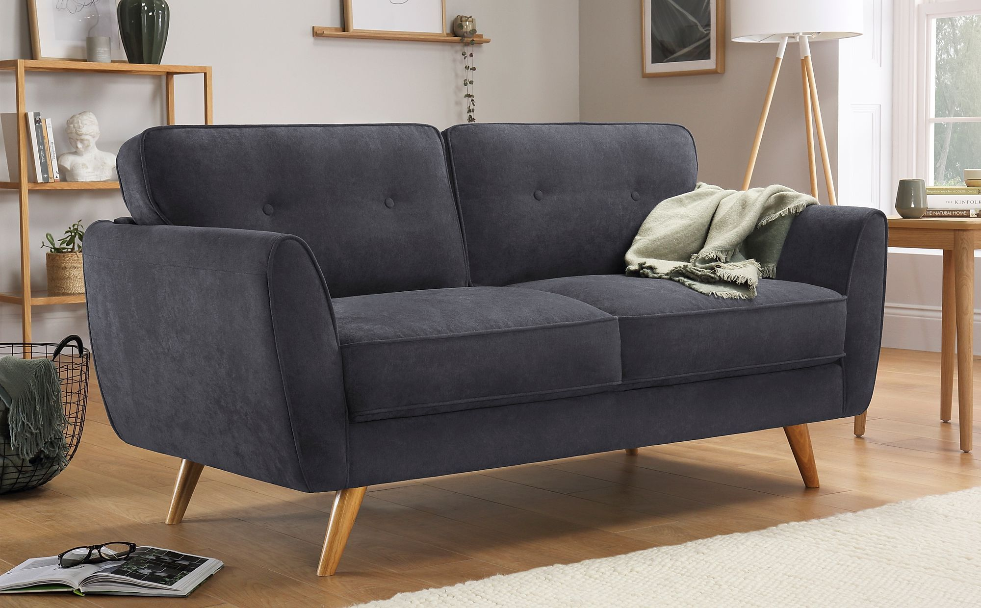 Harlow Slate Grey Plush Fabric 2 Seater Sofa Furniture Choice In 2020 Furniture Choice Seater Sofa Fabric Sofa