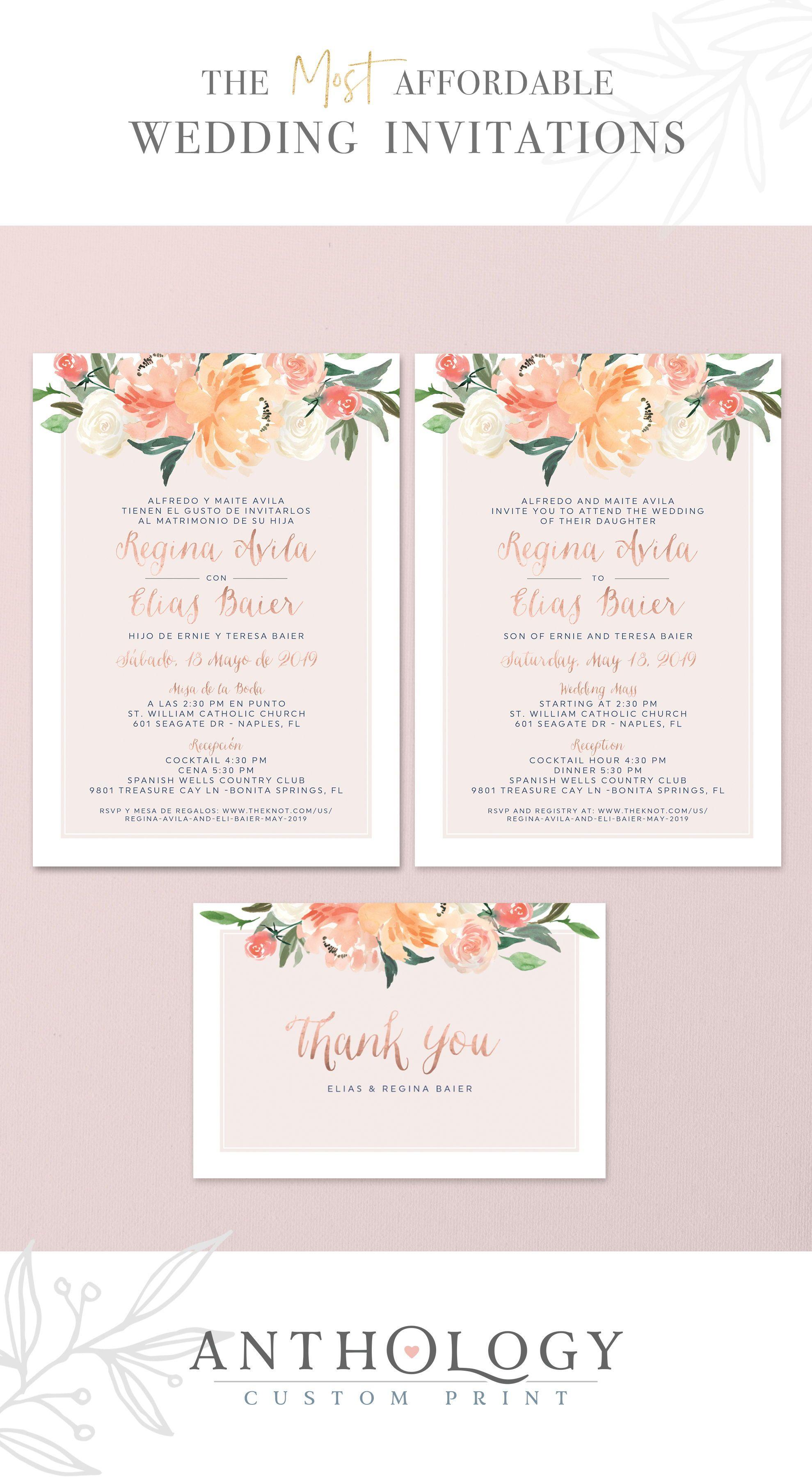 Watercolor Fl Wedding Invites Affordable