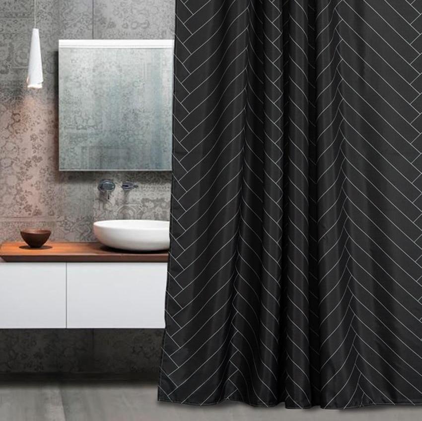 Custom Fabric Bathroom Shower Curtain Features High Quality Silky
