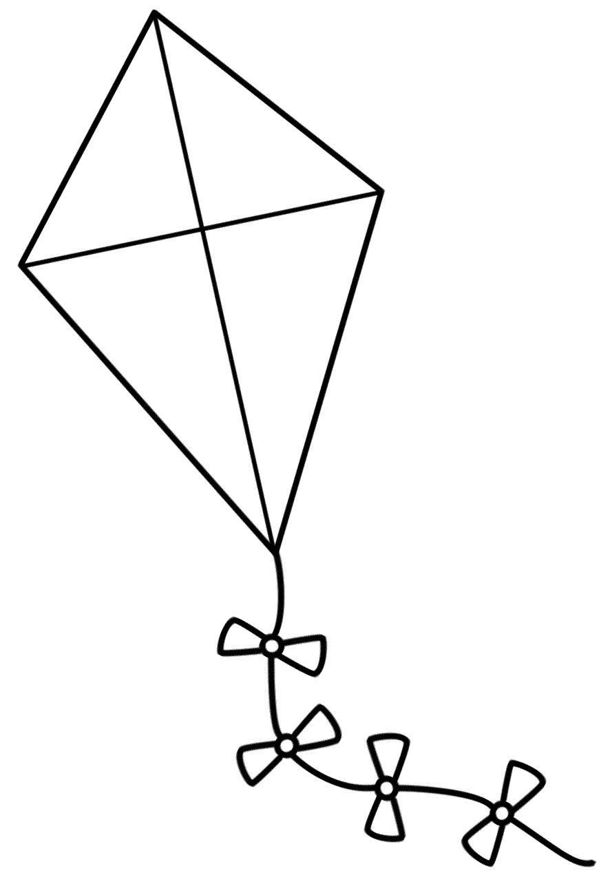 Kite With Bows Coloring Page Spring Kites Craft Kite Template Go Fly A Kite